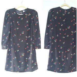 OLD NAVY black floral print mini shift dress